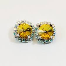 yellow clip earrings crystal clip on canary yellow rhinestones ab halo clip earrings swarovski yellow wedding silver finish sunflower se97 2623898