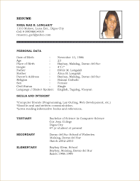 Resume Sample Format For Working Studentsnokiaaplicaciones Com