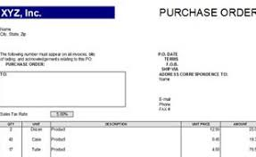 Purchase Order Forms Sample Purchase Order Template