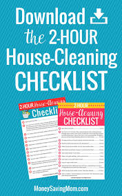 2 Hour House Cleaning Checklist Sign Up Crystal Paine Products