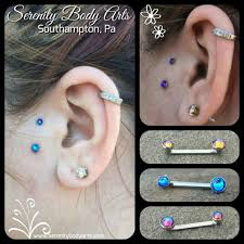 Healed Surface Tragus Piercing With Crystal Blue Meridian Gem Ends