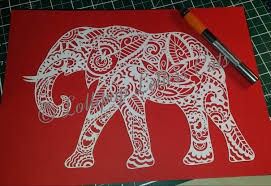 paisley elephant diy paper cut template commercial use