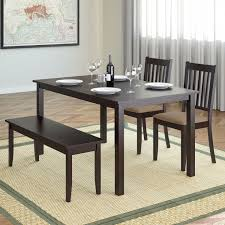corliving atwood piece dining set with cappuccino stained bench