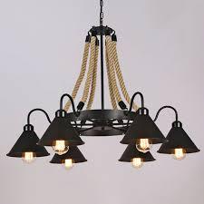 6 lights rope chandelier gooseneck