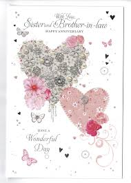 Beautiful Heart Design Details About Sister And Brother In Law Anniversary Card With Beautiful Heart Design