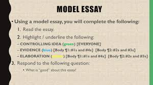 writing self assessment and reflection activity quick question  4 model essay