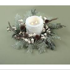 pack of 6 snowy winter cedar and pinecone white berry christmas candle rings 16