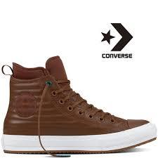 baskets converse cuir sneaker boot dark brown beige 157491c