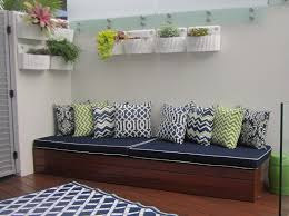 outdoor bench cushion with contrast piping
