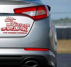 designer mrrr officer i am not drunk funny car wall sticker
