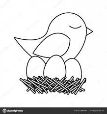 鳥の巣の卵のモノクロ シルエット ストックベクター Grgroupstock