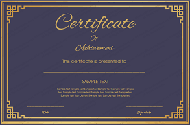 Certificate Of Honor Template Royal Blue Certificate Of Achievement Template