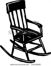 rocking chair silhouette. Black And White Vector Illustration Of A Rocking Chair Silhouette