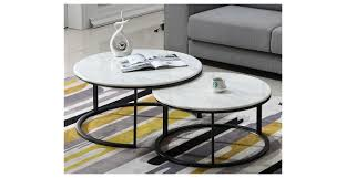 elite round marble nest coffee table set of two