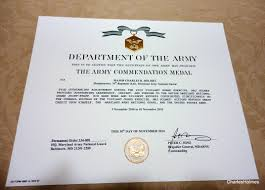 5 Sample Army Commendation Medal Citations Citizen Soldier