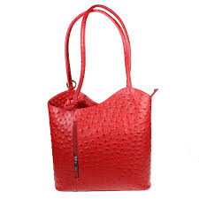 italian leather shoulder bag or use as a backpack red 1