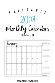 2019 Calendar Printable By Month 2019 Printable Monthly Calendars Landscape Us Letter A4