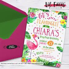 Flamingo Birthday Invitation Flamingo Watercolors Floral Invitations Pool Party Summer Birthday Party Invite Tropical Invitation Lets Flamingle