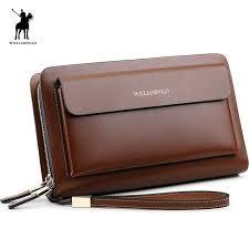 <b>WilliamPOLO</b> Fashion <b>100</b>% <b>Cow Leather</b> Business Solid Zipper ...