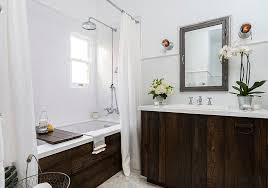 ... Transitional bathroom with fabulous use of reclaimed wood [Design:  Laura Schwartz-Muller /