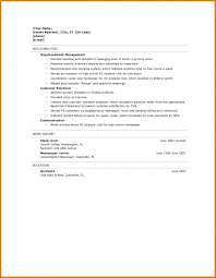 High School Graduate Resume Letter Format Template High School
