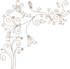 ポップでかわいい花のイラストフリー素材no210線画葉蔓