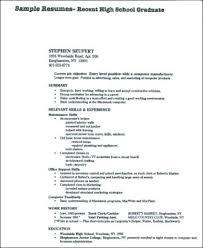 Resume Samples For High School Graduates High School Resume No ...