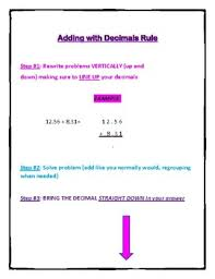 Adding Subtracting Decimals Reference Sheet Blank Decimal Place