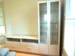 glass wall unit units with doors l shaped in ash matte kitchen ikea for living room
