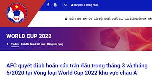 Danh sách cầu thủ đội tuyển việt nam. Hoan Cac Trận Ä'ấu Vong Loại World Cup 2022 Khu Vá»±c Chau A Trong Thang 3 Va Thang 6 Do Covid 19