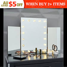 details about beauty led light table top tri 3 way fold folding dressing table vanity mirror
