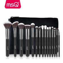 msq pro 15pcs makeup brushes set make up brushes soft synthetic hair with pu leather