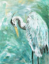 blue heron paintings in acrylic by crystal smith