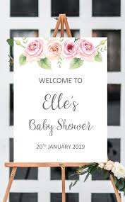 Baby Shower Welcome Sign Printable Floral Welcome Baby Shower Sign