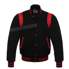 Details About Varsity Letterman Black Wool Genuine Red Leather Retro Superb College Jacket