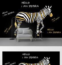 <b>Modern minimalist creative</b> gold foil zebra background <b>wall</b> | Decors ...