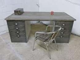 vintage metal office desk. Vintage Polished Steel Wood Metal Office Desk Retro A