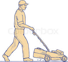 lawnmower drawing. gardener mowing lawnmower drawing