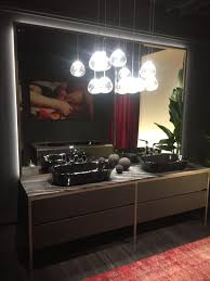 tropical bathroom lighting. Chandelier Lighting Above The Double Vanity Tropical Bathroom O