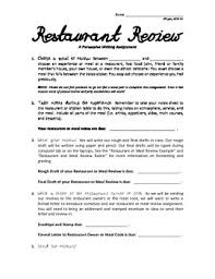 restaurant review examples restaurant review worksheets teaching resources tpt