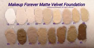 makeup forever m u f e mat velvet foundation swatches of shades