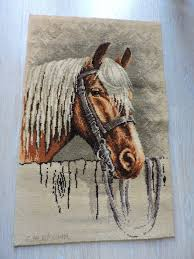 cm brown gesigneerd picture rug wall hanging horse acryl