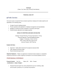 Financial Analyst Resume Format Resume Template Ideas