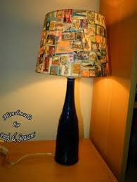 Hand Made Lampshades    More Postage Stamps Lampshades  Bottle .