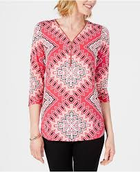 Petite Embellished Zipper Trim Top Created For Macys