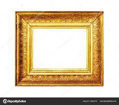 Gold ornate frame isolated on white background Stock Photo
