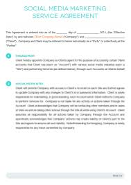 Social Media Marketing Contract Template