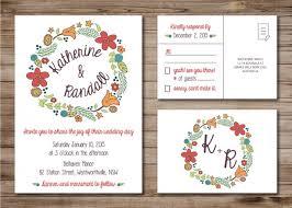 Modern Wedding Invitation And Rsvp Postcard Custom Design Print
