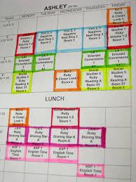 My Weekly Schedule Ashleys Weekly Schedule 129 East