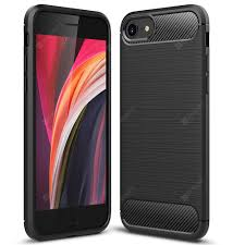 <b>ASLING Carbon Fiber TPU</b> Soft Back Cover Phone Case for iPhone ...